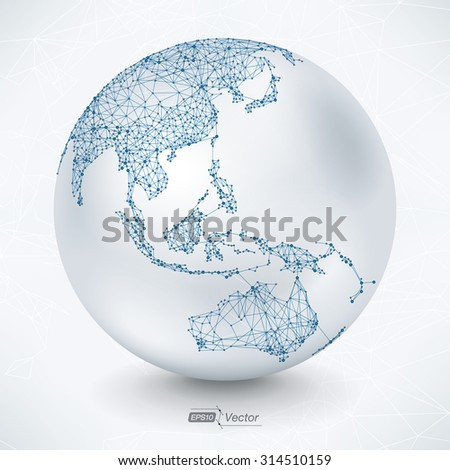 Abstract Telecommunication Earth Map - Asia, Indonesia, Oceania, Australia Communication concept - EPS10 vector design