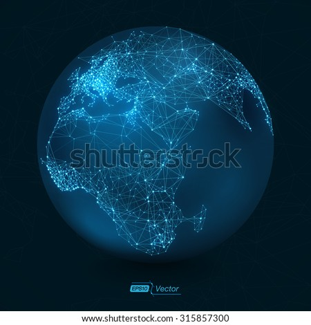 Abstract Telecommunication Earth Map | Communication concept - EPS10 vector design