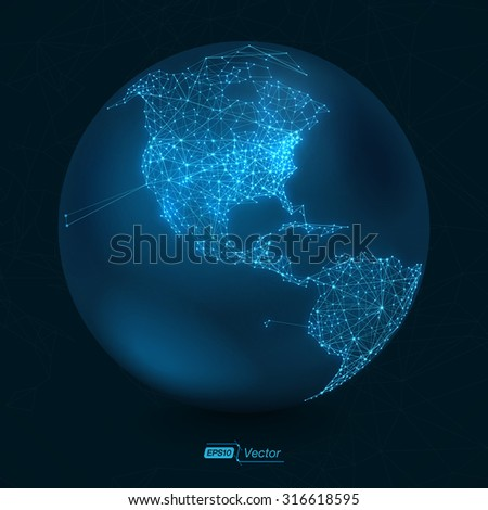 Abstract Telecommunication Earth Map - North America | Communication concept - EPS10 vector design