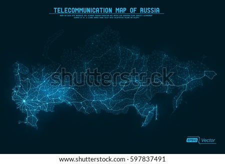 Abstract Telecommunication Network Map - Russia
