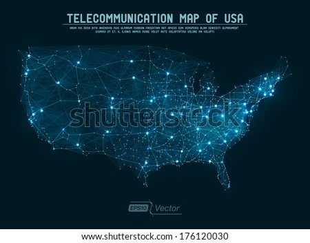 Abstract telecommunication network map - USA Detailed EPS10 vector design - organized layers