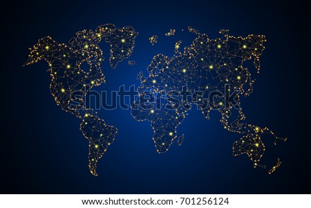 abstract telecommunication technology concept world map background