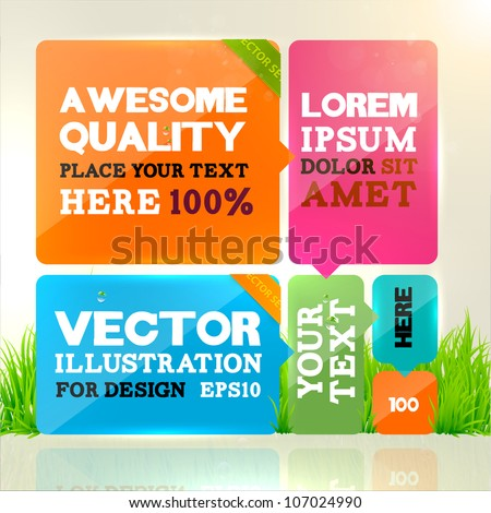 Abstract template design for business background. Colorful cubes with ribbons with place for text. Grass, water drops and sun shine for fresh business design.