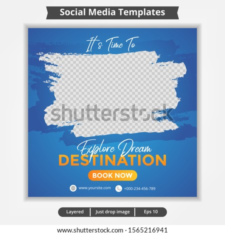 Abstract template post for social media ad, design for travel ads
