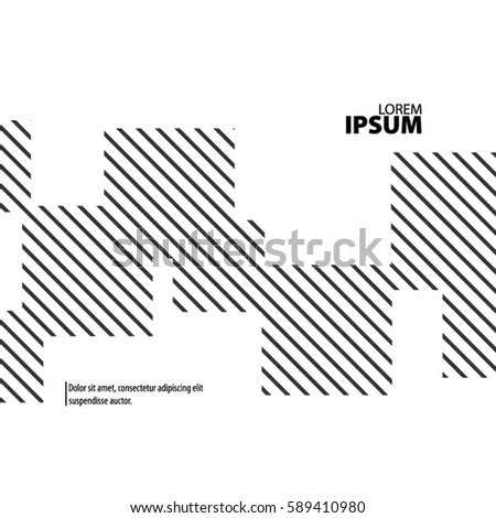 Abstract Template with Clean Minimal Style. Modern Graphic/Design Elements. Lines and Squares in White Background