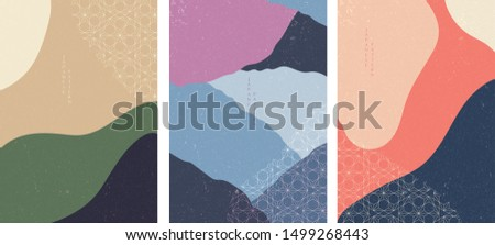Abstract template with Japanese pattern vector. Curve background. Wavy wallpaper.