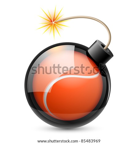 Abstract tennis ball shaped like a bomb. Illustration on white background for design