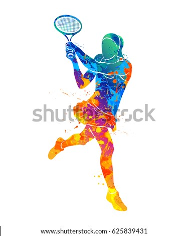 abstract tennis player with a