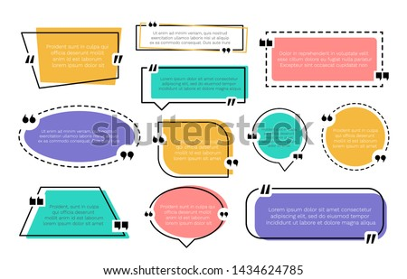 Abstract texting boxes. Speech citation balloon note, vector remark frame set of quotation bubble blog quotes symbols. Quote text design template