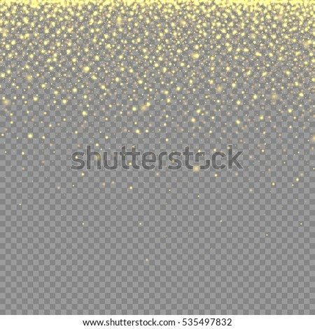 abstract texture with gold neon glitter particles effect on transparent background for luxury greeting rich card, poster, banner, sparkle sequin tinsel yellow bling, vector illustration eps10