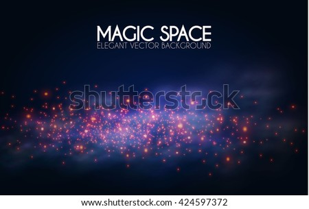Abstract Textured Background. Shimmer and Fog Design. Cosmos, Universe, Particles, Elegant Design. Magic Space. Vector illustration