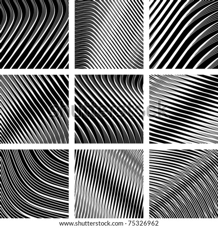Abstract textured backgrounds in op art design. No gradient. Vector set. - stock vector