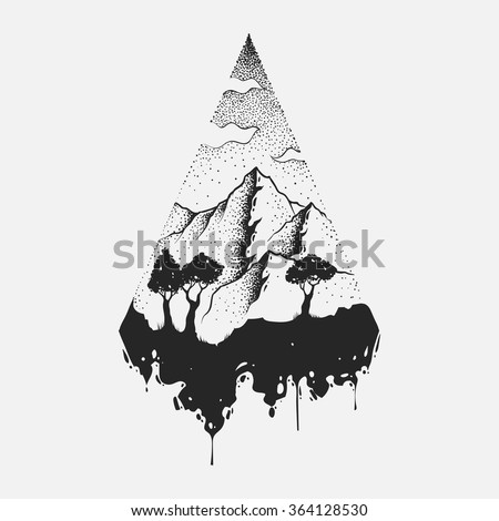 abstract the mountains hand