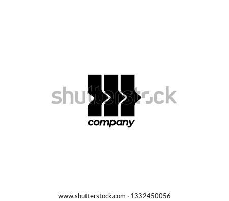 abstract three crooked bar logo