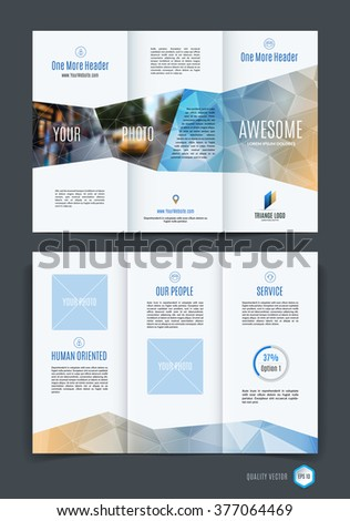 Abstract Three Fold Brochure Template Flyer Design Layout With Blue
