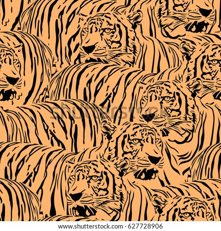 Abstract Tiger seamless pattern. Wild life animals. Black and orange illustration