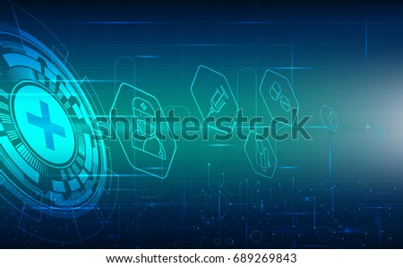 Abstract timeline science technology medical health care concept blue background with icons health and light.vector illustration