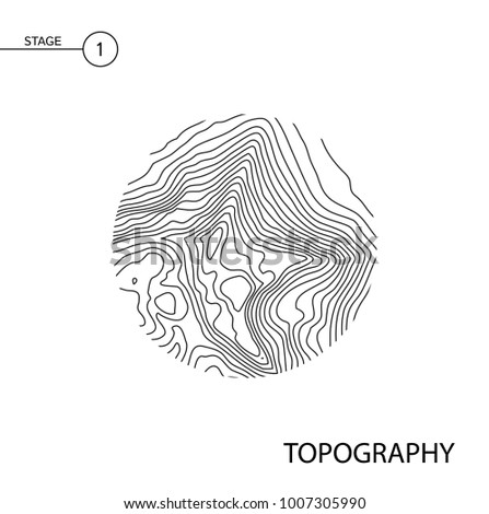 Abstract topographic vector map in a circle form. #1007305990
