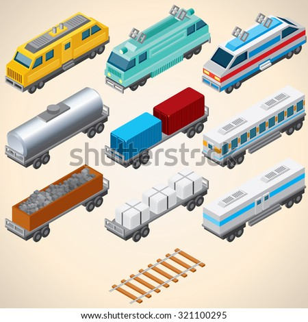 abstract trains isometric