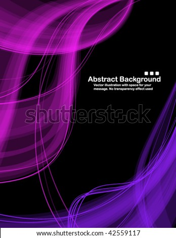 Abstract transparent blue and pink waves on black background. Vector illustration in RGB colors.