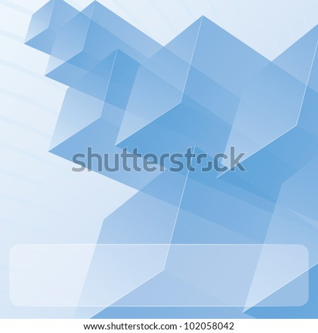 Abstract transparent blue modules. Background