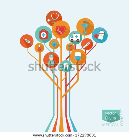 Abstract tree - a medical concept in flat style for your design, vector.