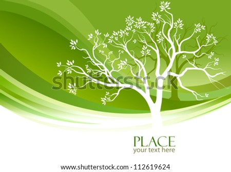 abstract tree and olive green