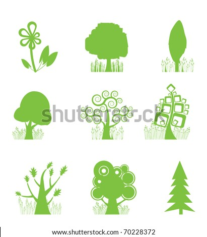 Abstract Tree Collection icon - vector illustration