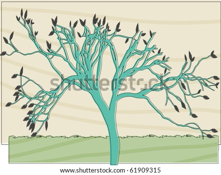 Abstract Tree Colored in offset retro style  vector illustration - stock vector