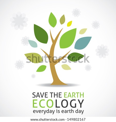 abstract tree  earth day icon
