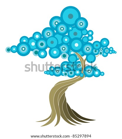Abstract tree illustration of oriental style tree with blue circles.
