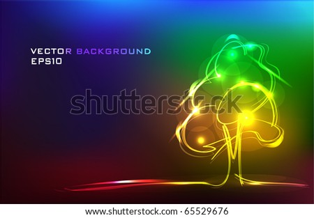 abstract tree made of light background