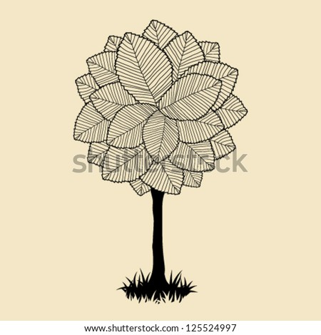 Abstract tree on the lawn - stock vector