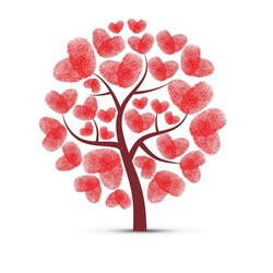 Abstract tree silhouette with red heart fingerprints leaves isolated on white background. Symbol of nature love and self identification in love