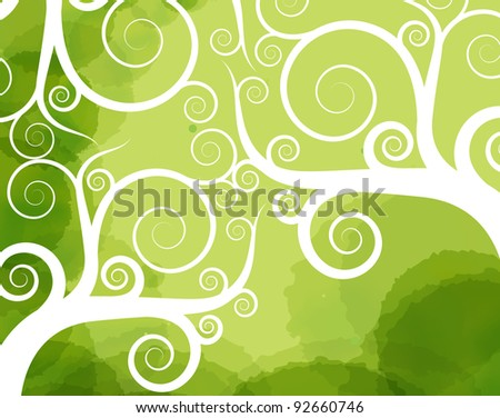 Abstract tree swirl vector background