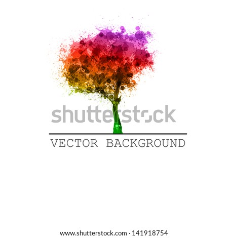 abstract tree vector, easy all editable - recolor, edit text, etc.