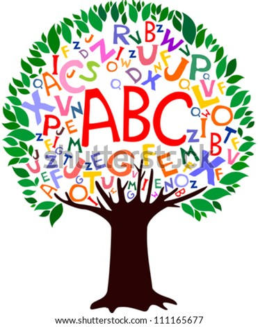 Abstract tree with colorful letters isolated on White background. Vector illustration
