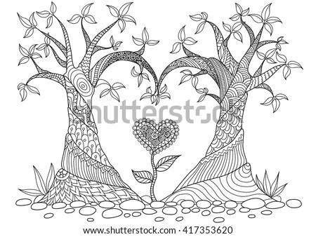 abstract trees in heart shape
