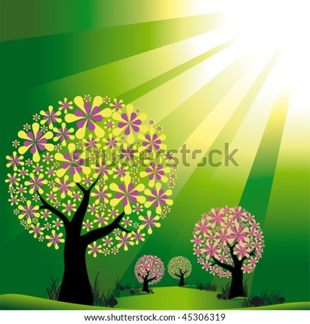 Abstract trees on green burst light background - stock vector