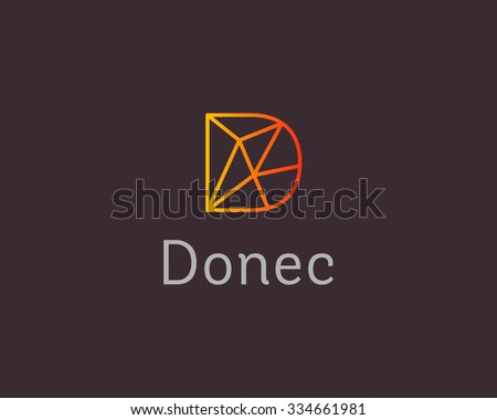 abstract trend letter d logo design template colorful structure creative sign communication vector symbol