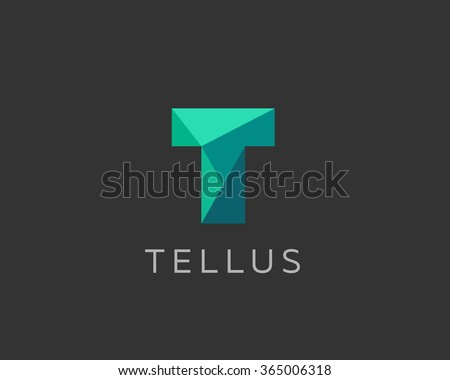 abstract trend polygon letter t