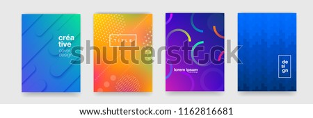 Abstract trendy gradient flowing geometric pattern background texture for poster cover design. Minimal color gradient banner template. Modern vector wave shape for brichure #1162816681