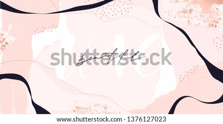 "Abstract trendy universal artistic background template . Good for cover, invitation, banner, placard, brochure, poster, card, flyer and other. Sign ""LOVE, BEAUTIFUL""."