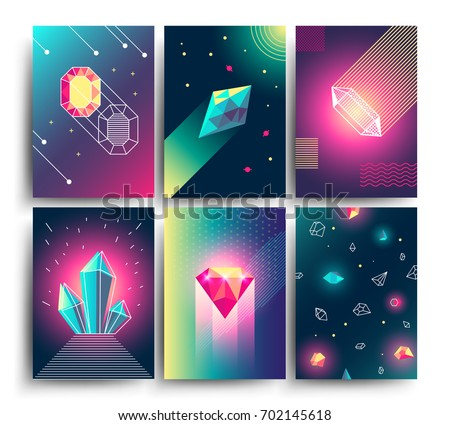 Abstract trendy vector cosmic posters with crystal gems and pyramid geometric shapes. Neon galaxy backgrounds in 80s style. Poster with geometric polygon pyramid or crystal illustration