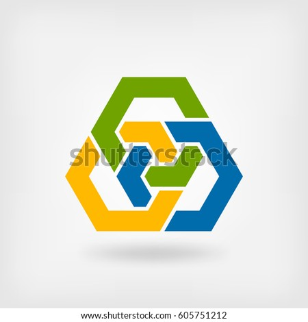 abstract tri-color interlocking hexagons. vector illustration - eps 10