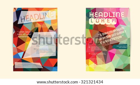 Abstract Triangle Geometric Vector Brochure Template. Flyer Layout. Flat Style. design for print,in A4 size #321321434
