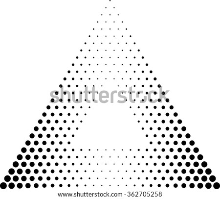 Abstract Triangle Geometrical Background . Modern Halftone Dotted Logo . Vector.