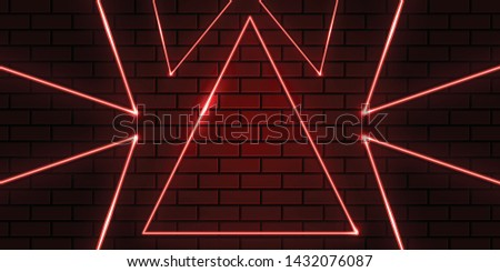 abstract triangle red bricks and neon background #1432076087