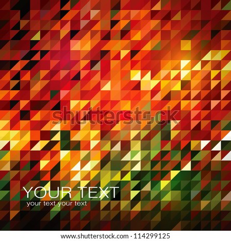 Abstract triangle tiles- background with vibrant autumnal colors - Eps10 vector