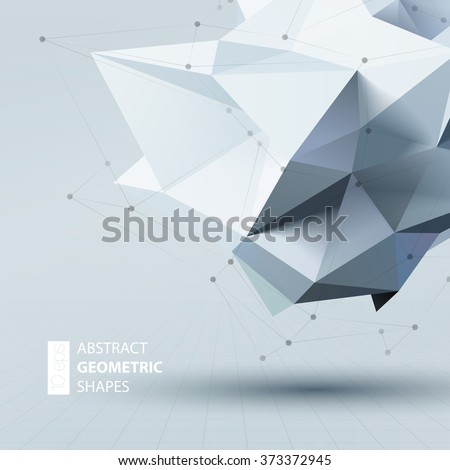 Stock Photo Abstract triangles space low poly. Polygonal vector background with connecting dots and lines.